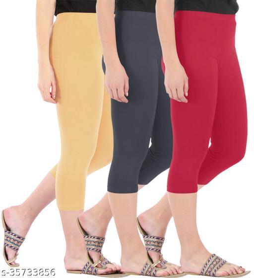 Befli Combo Pack of 3 Skinny Fit 3/4 Capris Leggings for Women Dark Skin Grey Tomato Red