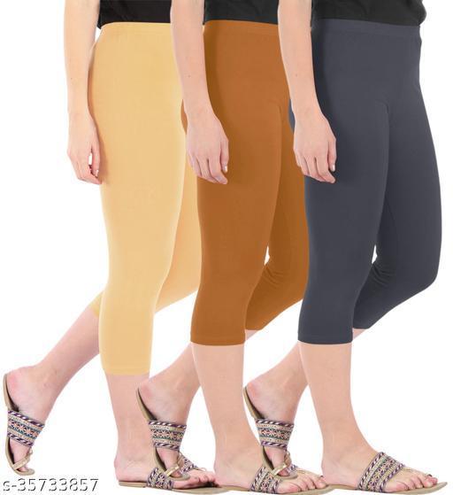Befli Combo Pack of 3 Skinny Fit 3/4 Capris Leggings for Women Dark Skin Khaki Grey