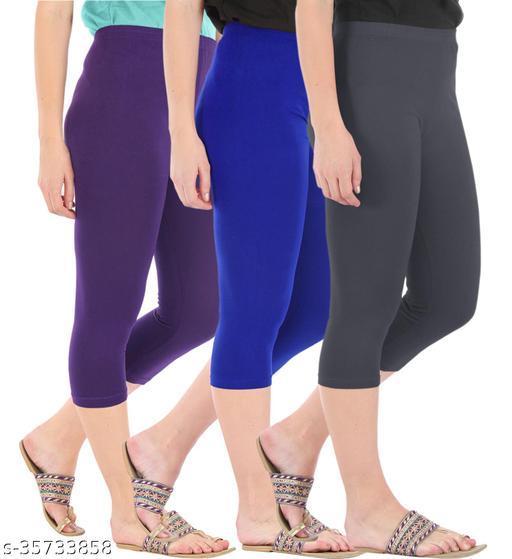 Befli Combo Pack of 3 Skinny Fit 3/4 Capris Leggings for Women Purple Royal Blue Grey