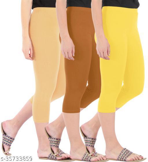 Befli Combo Pack of 3 Skinny Fit 3/4 Capris Leggings for Women Dark Skin Khaki Lemon Yellow