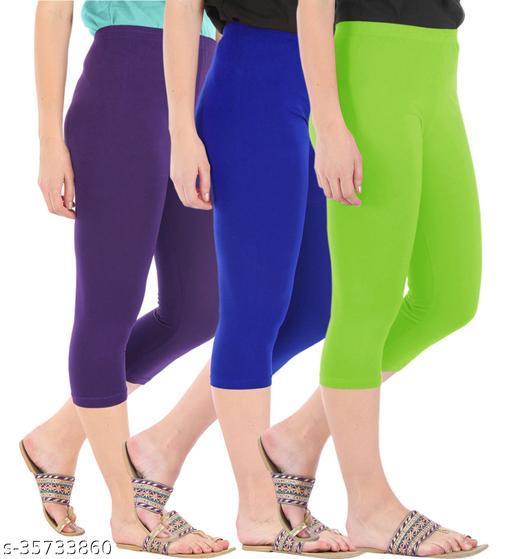 Befli Combo Pack of 3 Skinny Fit 3/4 Capris Leggings for Women Purple Royal Blue Merin Green