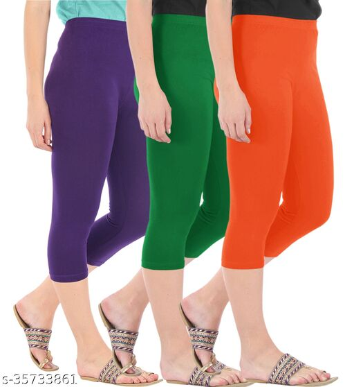 Befli Combo Pack of 3 Skinny Fit 3/4 Capris Leggings for Women Purple Jade Green Flame Orange