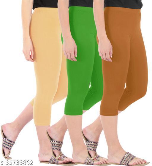Befli Combo Pack of 3 Skinny Fit 3/4 Capris Leggings for Women Dark Skin Parrot Green Khaki