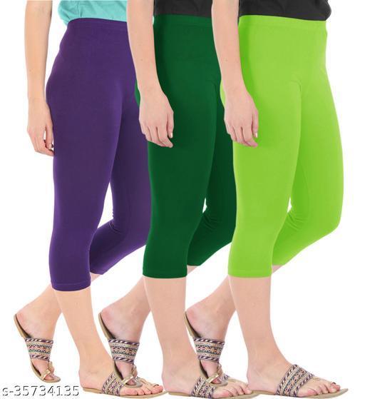 Befli Combo Pack of 3 Skinny Fit 3/4 Capris Leggings for Women Purple Bottle Green Merin Green