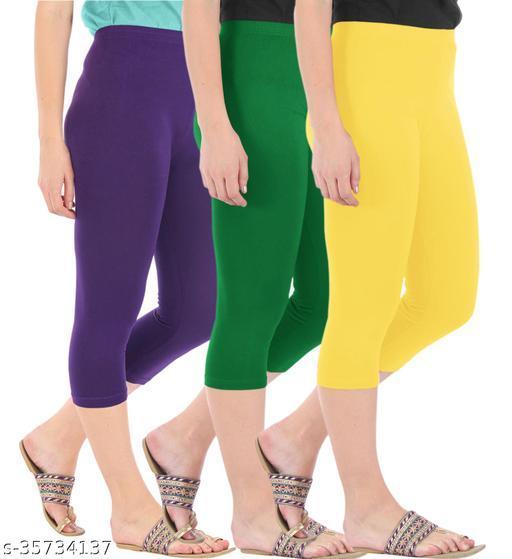 Befli Combo Pack of 3 Skinny Fit 3/4 Capris Leggings for Women Purple Jade Green Lemon Yellow
