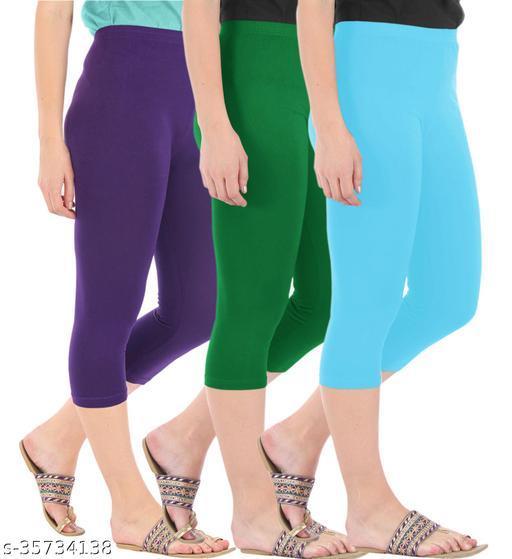 Befli Combo Pack of 3 Skinny Fit 3/4 Capris Leggings for Women Purple Jade Green Sky Blue