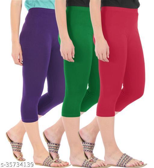 Befli Combo Pack of 3 Skinny Fit 3/4 Capris Leggings for Women Purple Jade Green Tomato Red