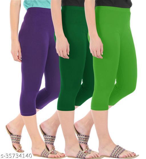 Befli Combo Pack of 3 Skinny Fit 3/4 Capris Leggings for Women Purple Bottle Green Parrot Green