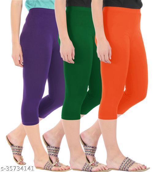 Befli Combo Pack of 3 Skinny Fit 3/4 Capris Leggings for Women Purple Bottle Green Flame Orange