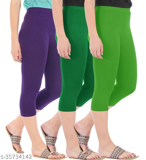 Befli Combo Pack of 3 Skinny Fit 3/4 Capris Leggings for Women Purple Jade Green Parrot Green