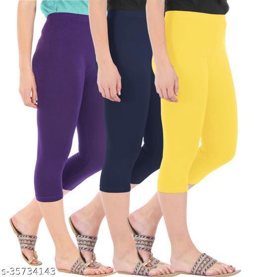 Befli Combo Pack of 3 Skinny Fit 3/4 Capris Leggings for Women Purple Navy Lemon Yellow