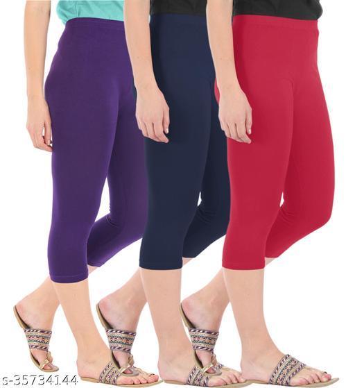Befli Combo Pack of 3 Skinny Fit 3/4 Capris Leggings for Women Purple Navy Tomato Red