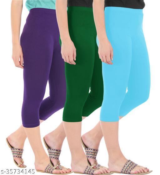 Befli Combo Pack of 3 Skinny Fit 3/4 Capris Leggings for Women Purple Bottle Green Sky Blue