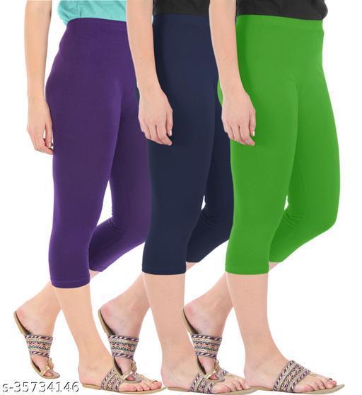 Befli Combo Pack of 3 Skinny Fit 3/4 Capris Leggings for Women Purple Navy Parrot Green