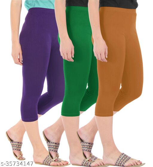 Befli Combo Pack of 3 Skinny Fit 3/4 Capris Leggings for Women Purple Jade Green Khaki