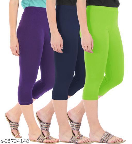 Befli Combo Pack of 3 Skinny Fit 3/4 Capris Leggings for Women Purple Navy Merin Green