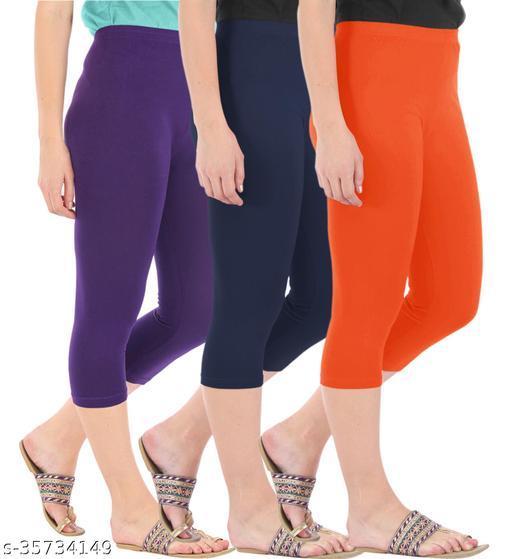 Befli Combo Pack of 3 Skinny Fit 3/4 Capris Leggings for Women Purple Navy Flame Orange