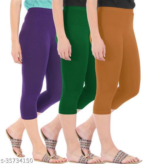 Befli Combo Pack of 3 Skinny Fit 3/4 Capris Leggings for Women Purple Bottle Green Khaki