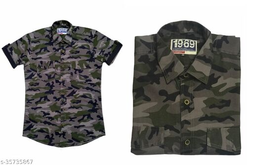 Army Men Solid Pure Cotton Straight Half Sleeve Shirt