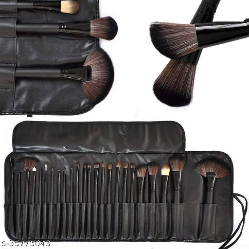 24-Piece Makeup Brush Set with PU Leather Case (Bamboo)