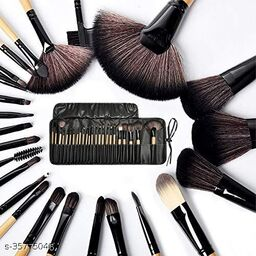 Essential Cosmetics 24 Pieces Professional Makeup Brushes Set with Case, Face Eye Shadow Eyeliner Foundation Blush Lip Powder Liquid