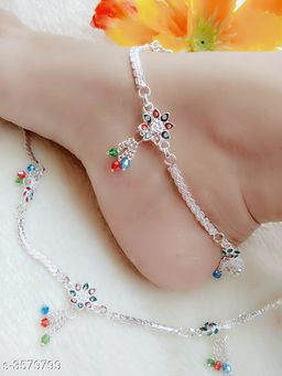 Women's Alloy Silver Plated Anklets & Toe Rings