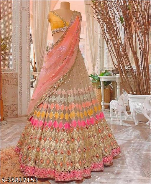 Pink And Yellow Designer Partywear Embroiderd Work with Malay satin material including American Crep Inner fabric Lehenga Choli - LC KAJUKATRI