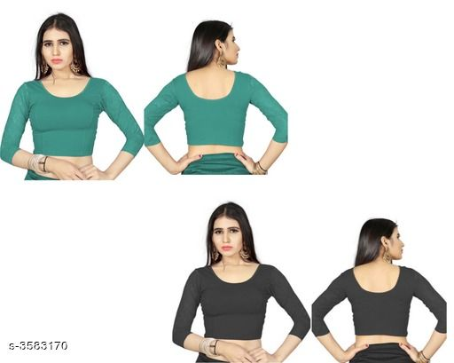 Stylish Shimmer Lycra Solid Blouses Combo
