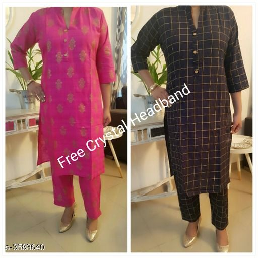 Kurta Sets Stylish Attractive Women's Kurta Sets  *Fabric* Kurti - Cotton Slub, Pant -Cotton Slub   *Sleeves* Sleeves Are Included   *Size* Kurti - M - 38, L- 40 in   *Length* Kurti - Up To 42 in, Pant - Up To 34 in   *Type* Stitched   *Description* It Has 2 Set Of Combo Kurta & Straight Pant Set With Free Crystal Headband   *Work* Kurti - Printed, Pant - Printed  *Sizes Available* M, L   Supplier Rating: ★4.1 (27) SKU: AHIHI_COLLAGE1570275410172 Free shipping is available for this item. Pkt. Weight Range: 500  Catalog Name: Stylish Attractive Women's Kurta Sets Vol 14 - NANCY ALLY Code: 969-3583640--