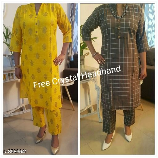 Kurta Sets Stylish Attractive Women's Kurta Sets  *Fabric* Kurti - Cotton Slub, Pant -Cotton Slub   *Sleeves* Sleeves Are Included   *Size* Kurti - M - 38, L- 40 in   *Length* Kurti - Up To 42 in, Pant - Up To 34 in   *Type* Stitched   *Description* It Has 2 Set Of Combo Kurta & Straight Pant Set With Free Crystal Headband   *Work* Kurti - Printed, Pant - Printed  *Sizes Available* M, L   Supplier Rating: ★4.1 (27) SKU: AHIHI_COLLAGE1570275469240 Free shipping is available for this item. Pkt. Weight Range: 500  Catalog Name: Stylish Attractive Women's Kurta Sets Vol 14 - NANCY ALLY Code: 969-3583641--
