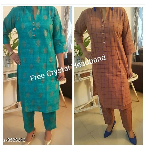 Kurta Sets Stylish Attractive Women's Kurta Sets  *Fabric* Kurti - Cotton Slub, Pant -Cotton Slub   *Sleeves* Sleeves Are Included   *Size* Kurti - M - 38, L- 40 in   *Length* Kurti - Up To 42 in, Pant - Up To 34 in   *Type* Stitched   *Description* It Has 2 Set Of Combo Kurta & Straight Pant Set With Free Crystal Headband   *Work* Kurti - Printed, Pant - Printed  *Sizes Available* M, L   Supplier Rating: ★4.1 (27) SKU: AHIHI_COLLAGE1570275827359 Free shipping is available for this item. Pkt. Weight Range: 500  Catalog Name: Stylish Attractive Women's Kurta Sets Vol 14 - NANCY ALLY Code: 969-3583643--