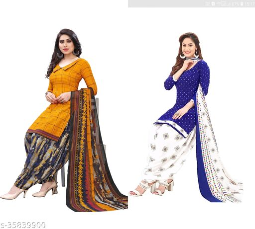 Women's Crepe Heavy Printed Suits Material (pack of 2)