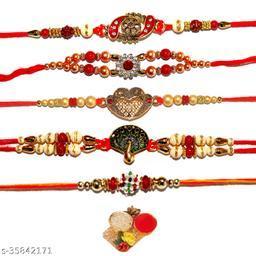 BANDHAN- Royal Gold Plated Traditional Rakhi Combo (Set of 5) with Roli Tika | Raksha Bandhan Rakhi for Brother | Designer Rakhi Combos | Rakhi for small Little bro |RB462
