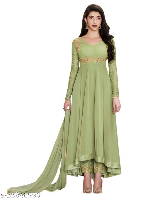 Women's green  Faux Georgette Semi-Stitched Embroidered Anarkali Salwar Suit (Free Size)
