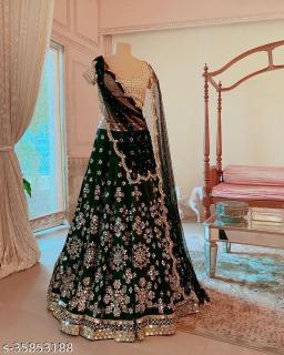 Green Designer Partywear Embroiderd Mirror Work Malay satin Material With American Inner fabric Lehenga Choli - LC 28