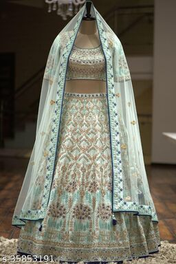 Attractive White & Neavy Blue Designer Partywear Embroiderd Work With Malay satin Material including Inner row silk fabric with Dupatta and Blouse Lenhenga choli - LC 21