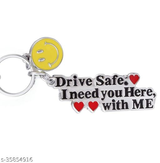 Abide Drive Safe ( Couple With Smiley ) I Need You Here With Me Keychain