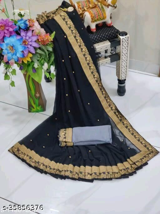 Shree Shree Thread & Dori Women's Georgette Beaded Moti And Fancy Jacquard Border Party Wedding Fashion Sarees Black Color