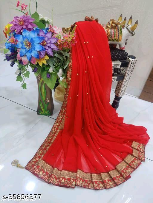 Shree Shree Thread & Dori Women's Georgette Beaded Moti And Fancy Jacquard Border Party Wedding Fashion Sarees Red color