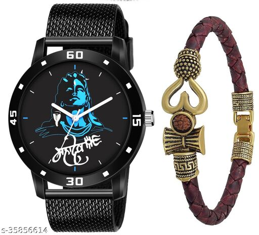 WE ARE RETAILS New Arrival Stylish Black Dial PU Strap Mahadev Analouge Watch For Men and Boys and One Stylish Bracelet
