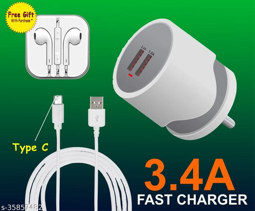 Mobile charger 3.4 amp with micro data cable oppo charger vivo charger mi charger realme charger nokia charger samsung charger  FREE Earphone