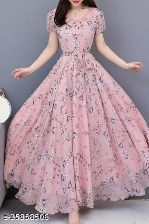 Exclusive Light Pink Trendy Look Floral Maxi Digital Printed Designer Maxi Gown
