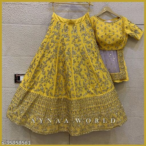 Nice Looking Yellow Designer Partywear Embroiderd Work Malay satin Material Lehenga choli with Blouse and Dupatta
