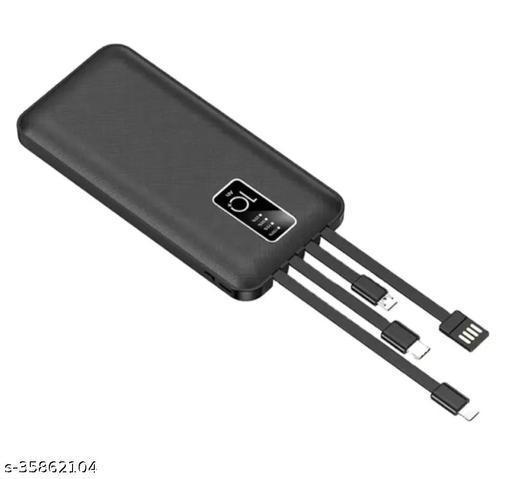 4 In 1 inbuilt cable 10000 mah Powerbank- Black