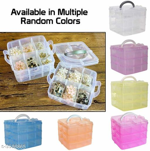 3-Tray 18 Grids Plastic Organizer Storage Box (Transparant Multi Color)