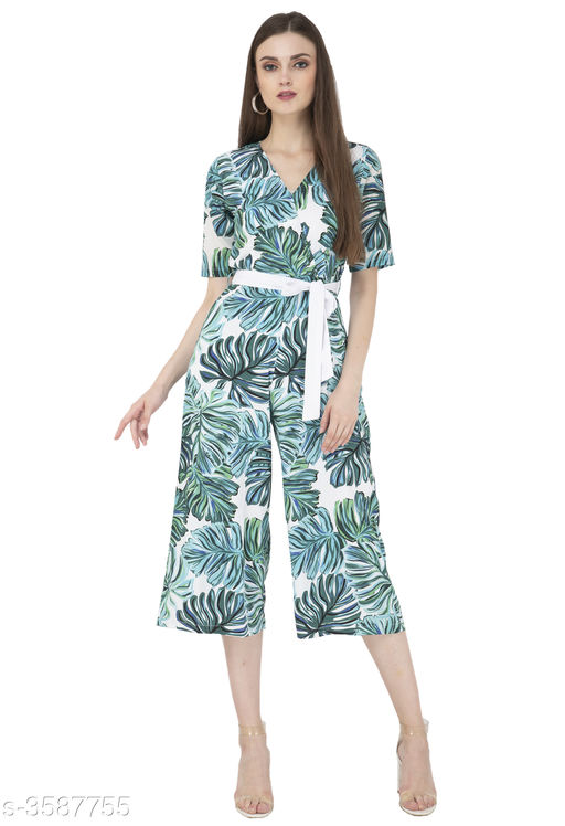 Trendy Printed Women's Crepe Jumpsuit