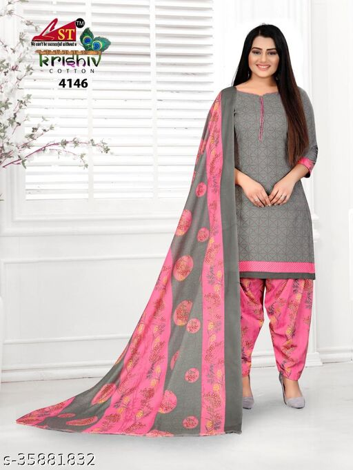 Anny Deziner Women's Gray Cotton Geometric Printed Unstitched Salwar Suit Material