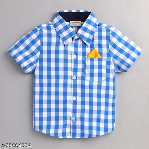Hopscotch Boys Cotton Checks Short Sleevesprinted Shirt in Blue Color (1053753)