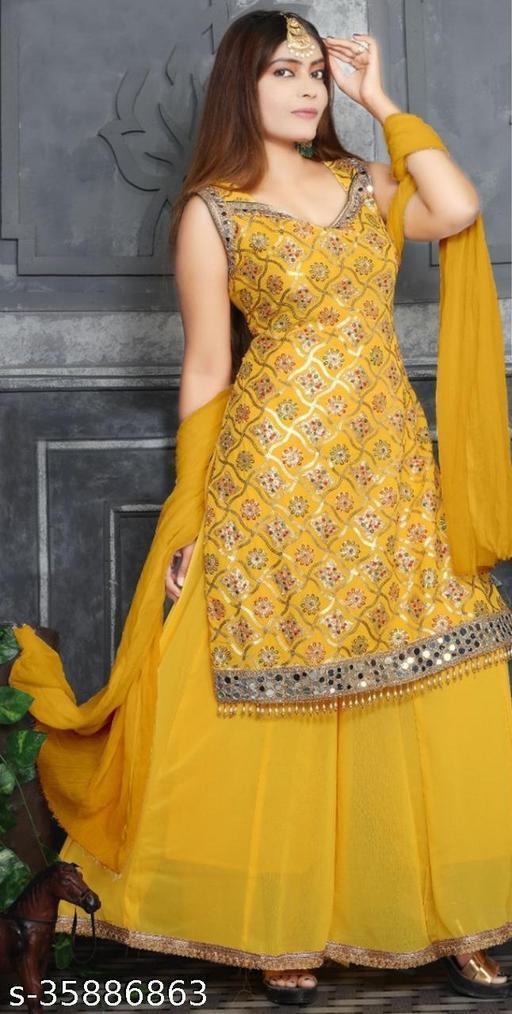 Gorgeous Heavy Look Sharara Gharara Georgette Pure Mirror Work And Sequence Work Fully Stitched Kurta Sharara And Dupatta