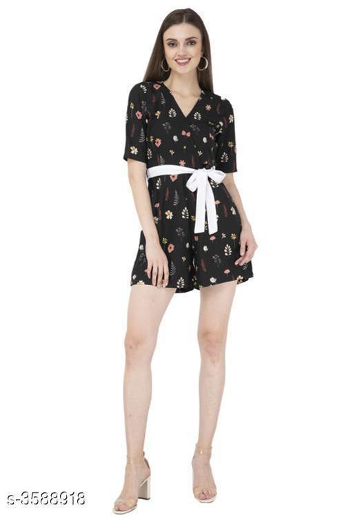 Trendy Printed Women's American Crepe Jumpsuit